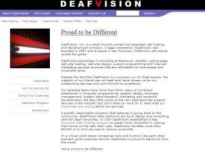 �각장애인이 운영하는 미� 웹 에이전시 Deafvision 소개 페이지