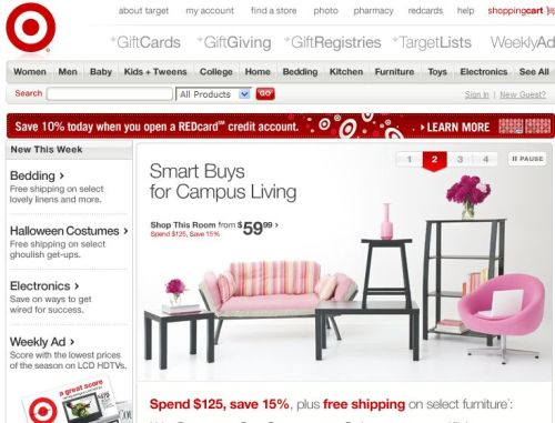 Target 메인 페이지(2008년 9월 1일)