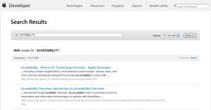 애플 개발자 네트워크 - 접근성 검색 결과