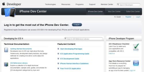아이폰 개발자 네트워크 메인 페이지