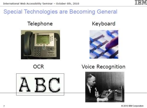 접근성 기술이 대중에게 도움을 주는 사례- 전화, 키보드, OCR 기술, 음성 인식