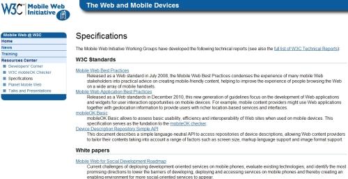 모바일 웹 이니셔티브의 표준 목록